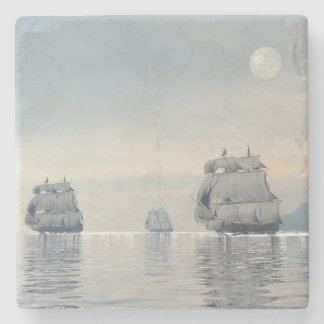 Porta-copo De Pedra Navios velhos no oceano - 3D rendem