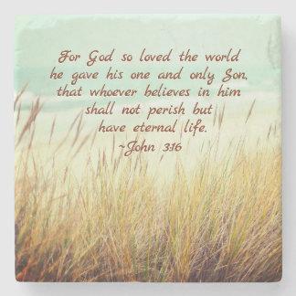 Porta-copo De Pedra O 3:16 de John para o deus amou assim o mundo,