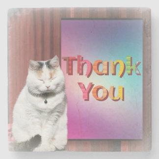Porta-copo De Pedra O gatinho bonito diz ThankYou na porta copos de