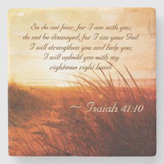 Porta-copo De Pedra O verso da bíblia do 41:10 de Isaiah não teme que