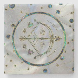 Porta-copo De Pedra Olmo do ouro do zodíaco do Sagitário na
