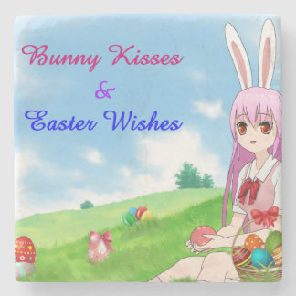 Porta-copo De Pedra Os beijos & a páscoa do coelho desejam