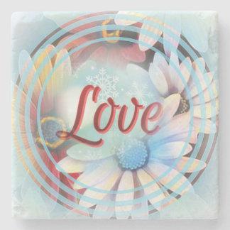"""Porta-copo De Pedra Palavra """"amor"""" do poder em uma porta copos de"""