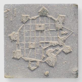 Porta-copo De Pedra Pedra de pavimentação do mapa da citadela de