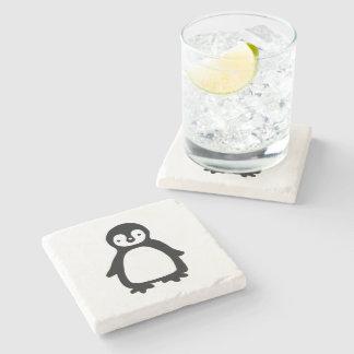 Porta-copo De Pedra Pinguin preto e branco simples