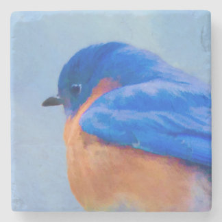 Porta-copo De Pedra Pintura do Bluebird - arte original do pássaro