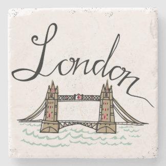 Porta-copo De Pedra Ponte indicada por letras de Londres da mão