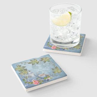 Porta-copo De Pedra Porta copos azul da pedra do tea party