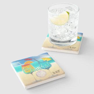 Porta-copo De Pedra Porta copos do monograma da praia dos cocktail