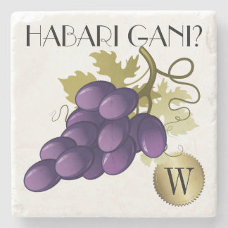 Porta-copo De Pedra Porta copos do monograma das uvas para vinho de