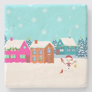 Porta-copo De Pedra Porta copos elegante da paisagem do boneco de neve