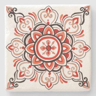 Porta-copo De Pedra Porta copos floral alaranjada do design do azulejo