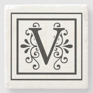 Porta-copo De Pedra Portas copos de pedra do monograma da letra V