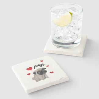 Porta-copo De Pedra Pugs do amor