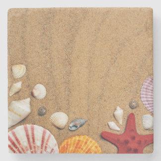 Porta-copo De Pedra Sandy Beach da estrela do mar dos Seashells