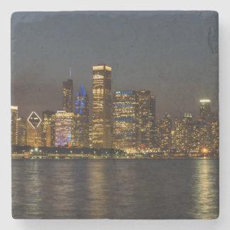 Porta-copo De Pedra Skyline Chicago Pano da noite