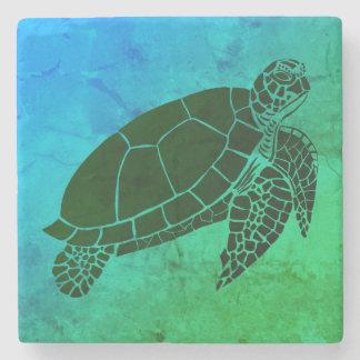 Porta-copo De Pedra Tartaruga de mar no fundo azul e verde