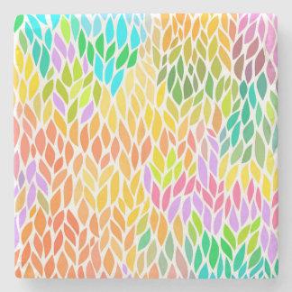 Porta-copo De Pedra Teste padrão colorido bonito das folhas