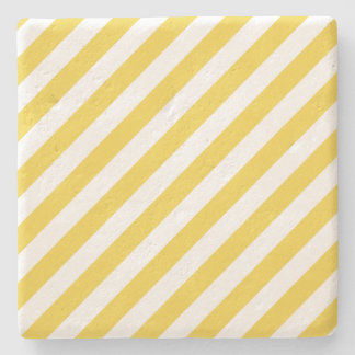 Porta-copo De Pedra Teste padrão diagonal amarelo e branco das listras