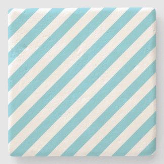 Porta-copo De Pedra Teste padrão diagonal azul e branco das listras