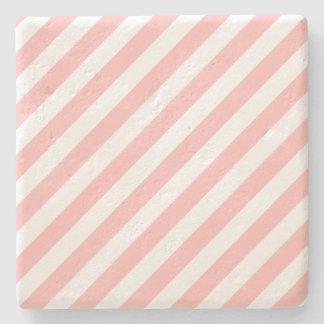 Porta-copo De Pedra Teste padrão diagonal do rosa e o branco das