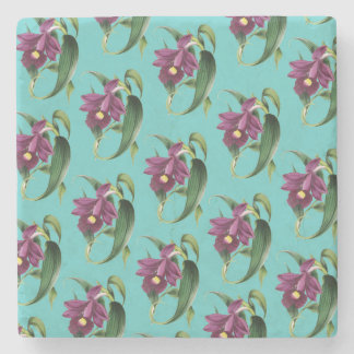 Porta-copo De Pedra Teste padrão roxo da cerceta das orquídeas