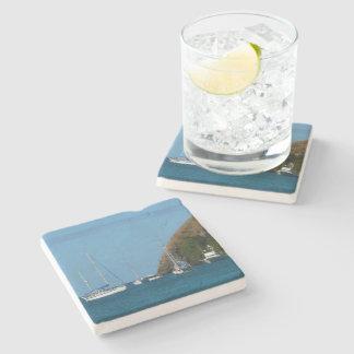 Porta-copo De Pedra Veleiros no náutico branco e azul da baía