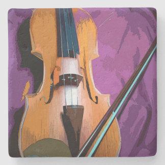 Porta-copo De Pedra Violino elegante na seda roxa, porta copos de