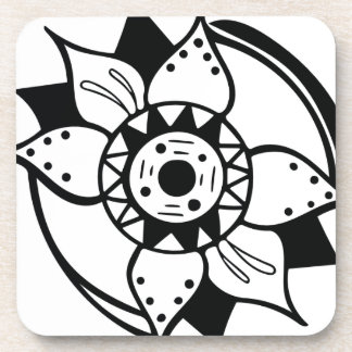 Porta-copo Desenho preto e branco monocromático da flor