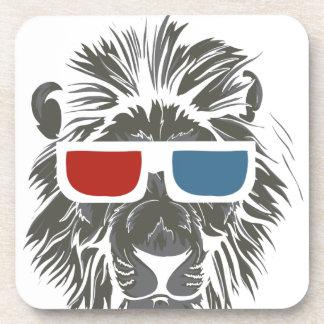 Porta-copo design do leão do vintage com gáss da cor