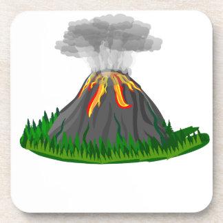 Porta-copo erupção e fogo do vulcão