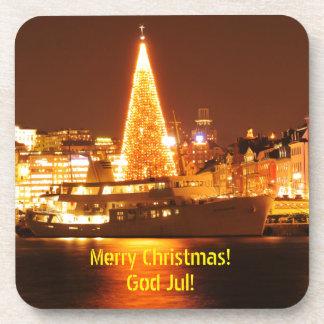 Porta-copo Éstocolmo, suecia no Natal na noite