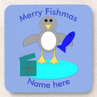 Porta-copo Feliz Natal que pesca portas copos do costume do