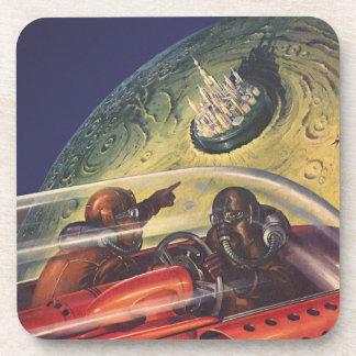 Porta-copo Ficção científica do vintage, cidade futurista na