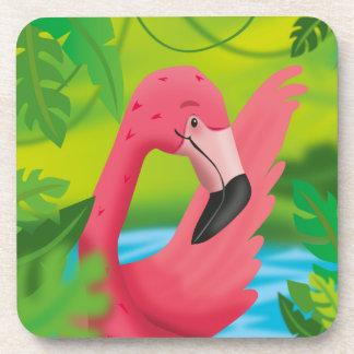Porta-copo Flamingo no verde