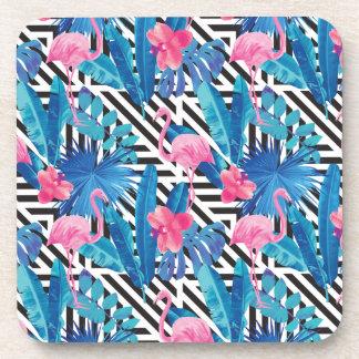 Porta-copo Flamingo & palmas no teste padrão geométrico