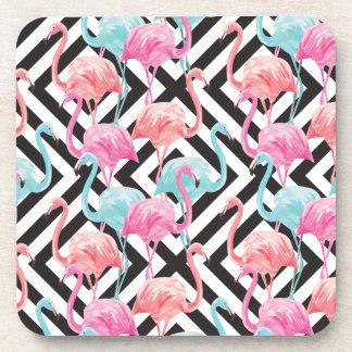 Porta-copo Flamingos no teste padrão corajoso do design