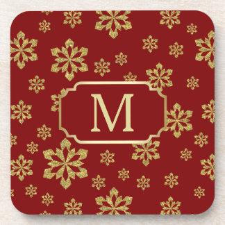 Porta-copo Floco de neve do monograma do ouro no vermelho