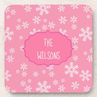 Porta-copo Flocos de neve no fundo cor-de-rosa