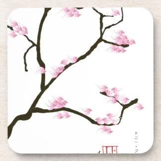 Porta-copo flor de sakura com pássaros cor-de-rosa, fernandes