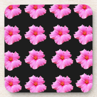 Porta-copo Flores cor-de-rosa do hibiscus no preto, _