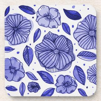 Porta-copo Flores da aguarela e da tinta - paleta azul