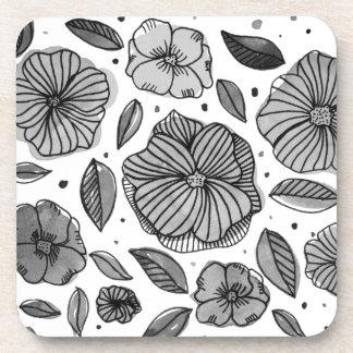 Porta-copo Flores da aguarela e da tinta - preto e branco