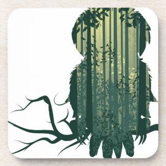 Porta-copo Floresta Landscape2 da coruja e do abstrato