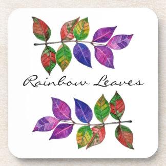 Porta-copo Folhas do arco-íris da aguarela