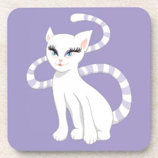 Porta-copo Gato branco bonito dos desenhos animados bonitos