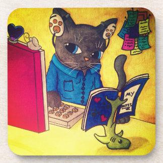 Porta-copo Gato do escritor do racum de Maine por gatos
