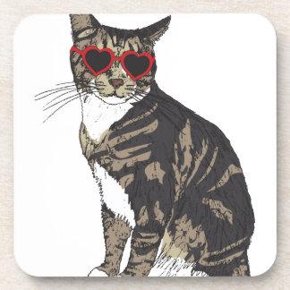Porta-copo Gato que veste vidros do coração