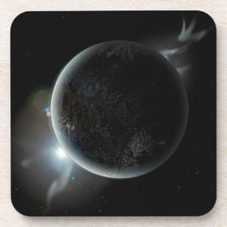 Porta-copo ilustração preta do planeta 3d no universo