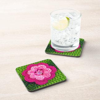 Porta-copo Impressão cor-de-rosa do Crochet do verde da flor